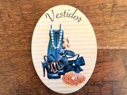 Placa de puerta para Vestidor con vestido y zapatos