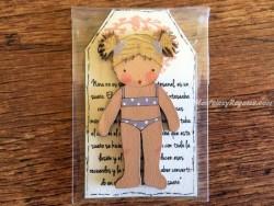Muñeca recortable madera 7 cm. bañador lila