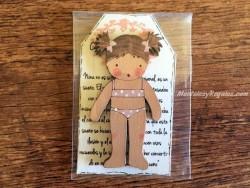 Muñeca recortable madera 7 cm. bañador beige