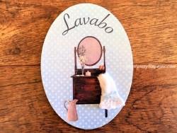 Placa de puerta para Lavabo con armario (con texto LAVABO)