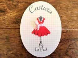 Placa de puerta Costura con maniquí (con texto COSTURA)