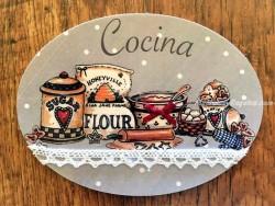 Placa de cocina con saco de harina (con texto COCINA)