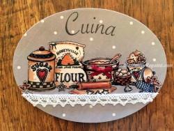 Placa de cocina con saco de harina (con texto CUINA)