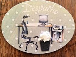 Placa de puerta para Despacho con ordenador (con texto DESPACHO)