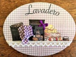 Placa de puerta para lavadero con ropa de cama (con texto LAVADERO)