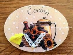 Placa de cocina con tetera (con texto COCINA)