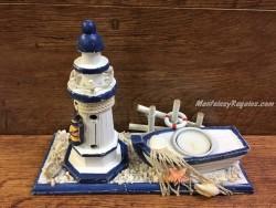 Faro y barca portavelas madera - 26 cm.