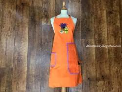Delantal + paño algodón Botella de Aceite naranja