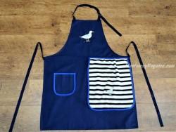 Delantal + paño algodón Gaviota azul marino