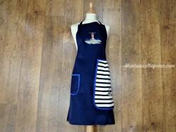 Delantal + paño algodón Faro azul marino