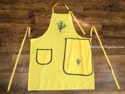 Delantal + paño algodón modelo Olivas amarillo