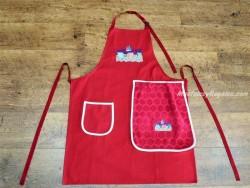 Delantal + paño algodón Hamacas rojo