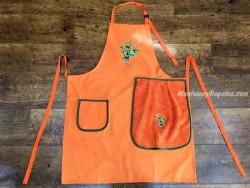 Delantal + paño algodón modelo Olivas naranja