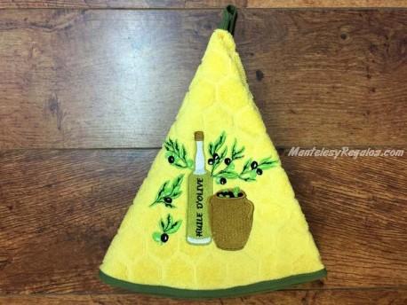 Paño redondo de cocina - Modelo BOTELLA DE ACEITE 2 - Amarillo