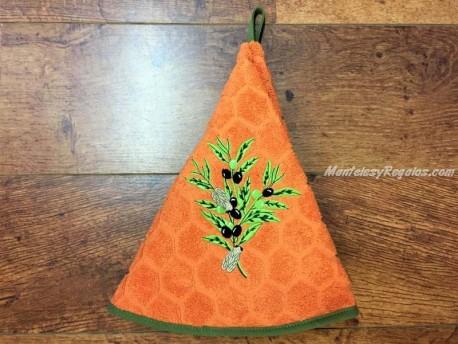 Paño redondo de cocina - Modelo OLIVAS - Naranja