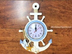 Reloj de pared con timón y ancla 34 cm.