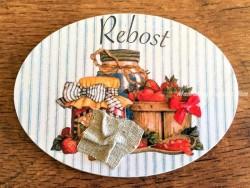 Placa de puerta para Despensa con tarro mermelada (con texto REBOST)