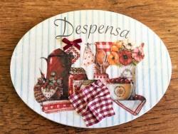 Placa de puerta para Despensa con conservas (con texto DESPENSA)