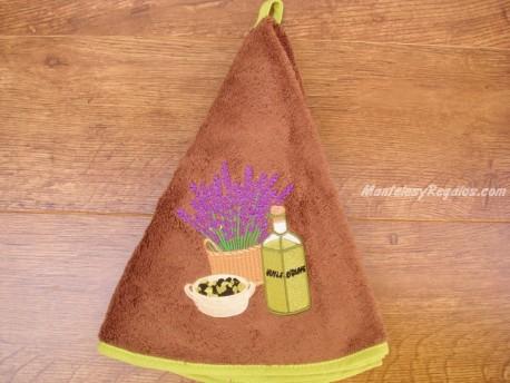 Paño redondo de cocina - Modelo BOTELLA DE ACEITE - Marrón