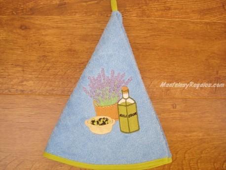 Paño redondo de cocina - Modelo BOTELLA DE ACEITE - Azul