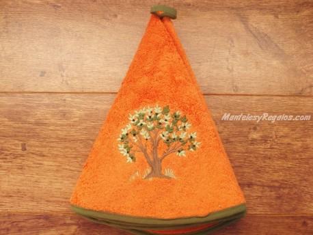 Paño redondo de cocina - Modelo ÁRBOL - Naranja
