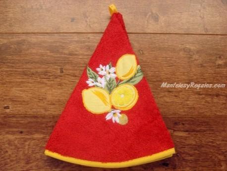 Paño redondo de cocina - Modelo LIMONES - Rojo