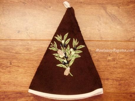 Paño redondo de cocina - Modelo OLIVAS - Chocolate