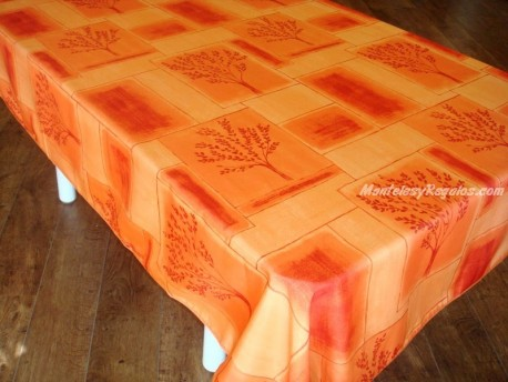 Mantel Antimanchas de Poliéster - Modelo PAVÉ ARBRÉ - Naranja