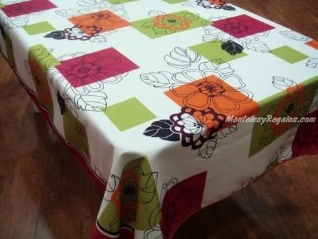 Mantel Antimanchas de Poliéster - Modelo FLEUR GRAPHIQUE - Naranja
