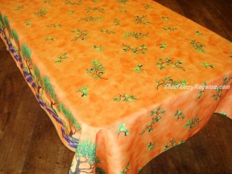 Mantel Antimanchas de Poliéster - Modelo OLIVAS Y ÁRBOLES - Naranja