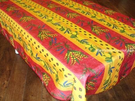 Mantel Antimanchas de Poliéster - Modelo LIMONES Y MIMOSA - Rojo