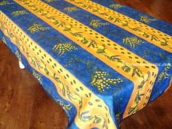 Mantel Antimanchas de Poliéster - Modelo LIMONES Y MIMOSA - Azul