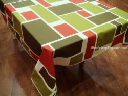 Mantel de Algodón Resinado - Modelo MONDRIAN - Verde