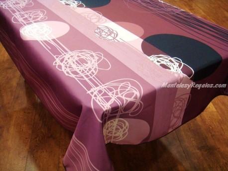 Mantel Antimanchas de Poliéster - Modelo CÍRCULOS - Rosa
