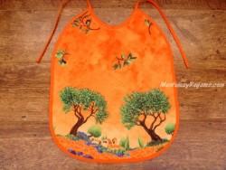 Babero adulto - Modelo OLIVAS Y ÁRBOLES - Naranja