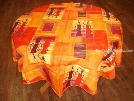 Mantel Antimanchas de Poliéster - Modelo ÁFRICA - Naranja (Redondo 1,80 mt.)