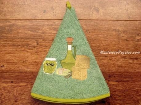 Paño redondo de cocina - Modelo ACEITERA - Verde claro