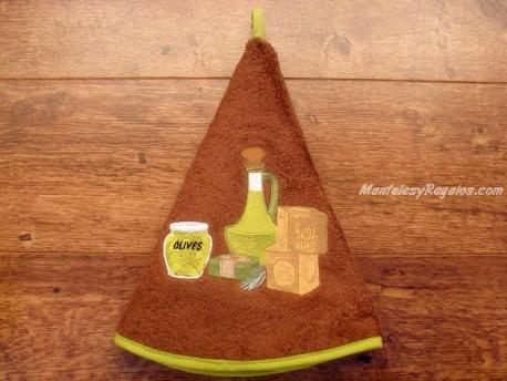 Paño redondo de cocina - Modelo ACEITERA - Marrón