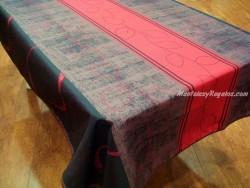Mantel Antimanchas de Poliéster - Modelo HOJAS PUNTOS - Rojo
