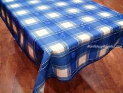 Mantel Antimanchas de Poliéster - Modelo MADRAS MARINERO - Azul