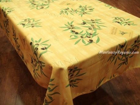 Mantel Antimanchas de Poliéster - Modelo HUILE D´OLIVE - Amarillo