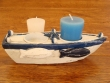 Barca portavelas para 2 velas - 19 cm.