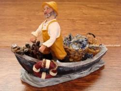 Barca decoración - Modelo PESCADOR Y TIMÓN - 12 cm.
