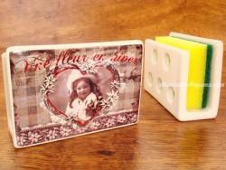 Guarda-esponjas de cerámica - Modelo UNE FLEUR EN HIVER