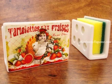 Guarda-esponjas de cerámica - Modelo TARTELETTES AUX FRAISES