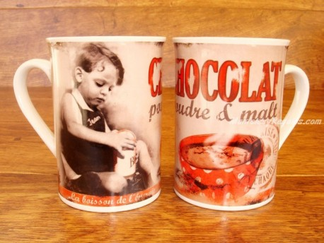 Taza de cerámica decorada - Modelo CHOCOLAT POUDRE & MALT