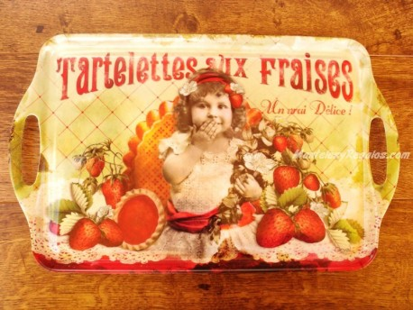 Bandeja decorada - Modelo TARTELETTES AUX FRAISES - 48 cm.