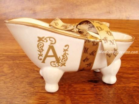 Jabonera de cerámica letra A