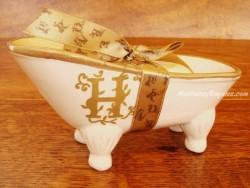Jabonera de cerámica letra H