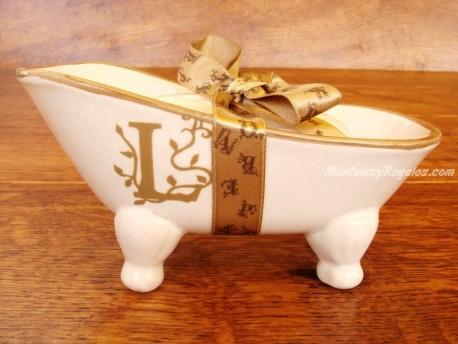 Jabonera de cerámica letra L